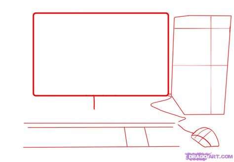 draw computer how to draw a computer tower keyboard screen mouse step by step stuff pop culture free