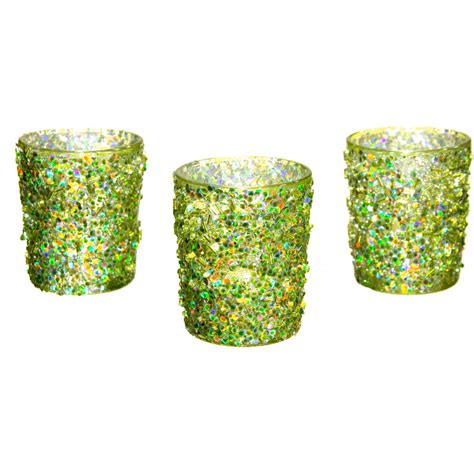 green votive holders beaded glass votive holder metallic lime green 3