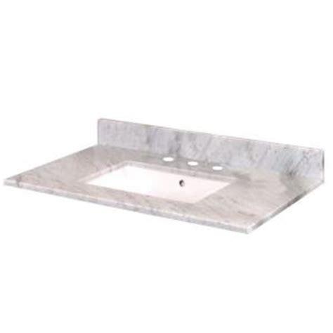 Pegasus Bathroom Vanity Tops Pegasus 37 In W Marble Vanity Top In Carrara With Trough Sink And 8 In Faucet Spread 27108