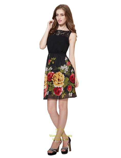 Mergory Flowery Flare Mini Dress black floral print fit and flare skater dress with lace