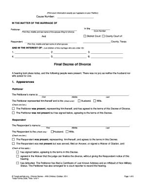 Record Of Divorce Form Michigan Divorce Papers Fill Printable Fillable