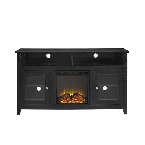 58 quot wood highboy fireplace tv stand black