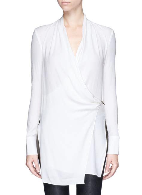 drape wrap blouse helmut lang fold over drape wrap front blouse in white