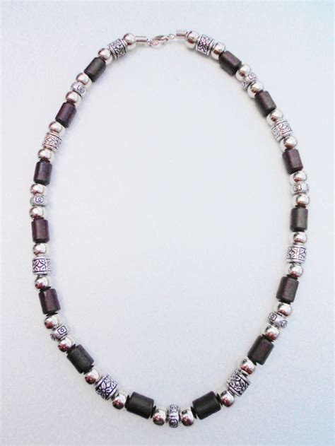 vintage style chrome brown surfer beaded necklace