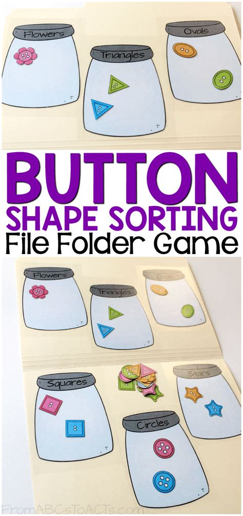 file folder games for teaching shapes button shape sorting printable file folder game from
