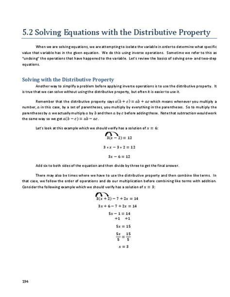 Distributive Property Solving Equations Worksheet by Worksheets Solving Equations With Distributive Property