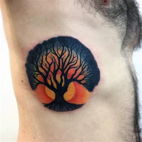sunset tree of life mens rib cage side tattoos tattoo