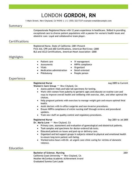 best nursing resume sles 25 best ideas about nursing resume on rn