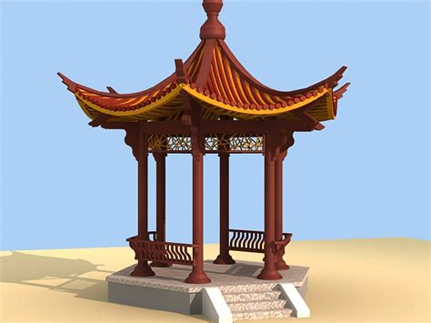 garden chinese pavilion  model ds max files