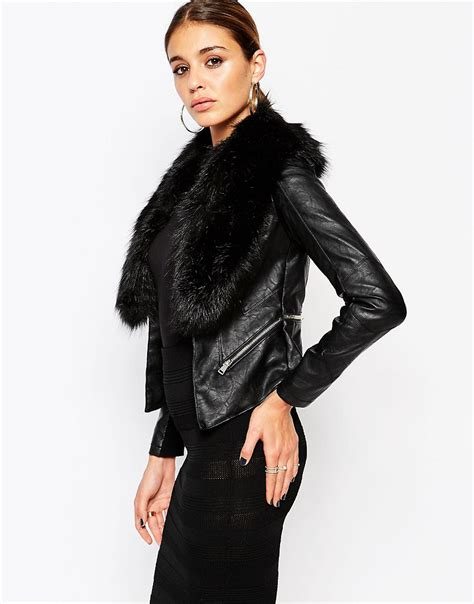 River Island Leather Cropped Jacket by Shoptagr River Island Leather Look Jacket With Faux Fur