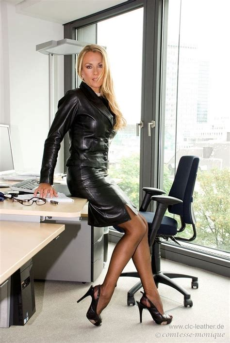 black leather skirt suit sheer black and black