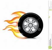 Chamas Da Roda/pneu E Do Fogo Isoladas No Branco Foto De Stock Royalty