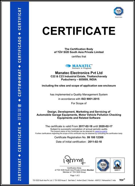 company certifications manatec