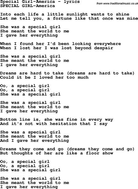 love songs girl love song lyrics for special girl america