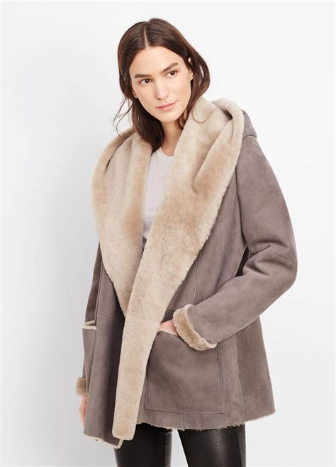 shearling drape jacket vince shearling drape coat with hood in gray lyst