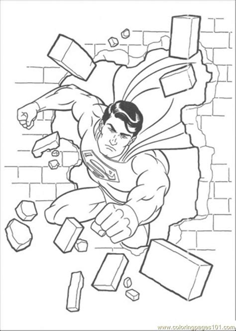 coloring pages superman has damaged the wall cartoons