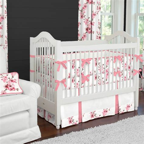 Cribcot Bumper Set Pink Blossom New cherry blossom 2 crib bedding set carousel designs