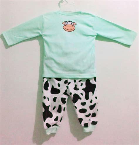 Piyama Anak Lucu Owl 1 jual setelan piyama panjang noodle cow sapi hijau baju tidur anak lucu baju anak diana shop