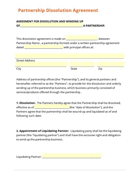 partnership dissolution agreement template business form template gallery