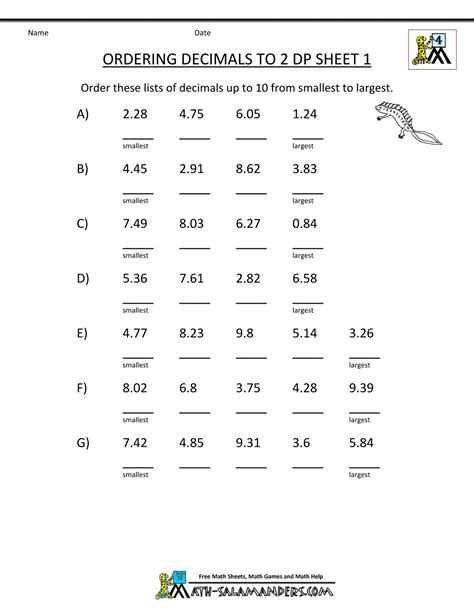 Fractions Worksheets Grade 4 by Math Worksheets 4th Grade Ordering Decimals To 2dp