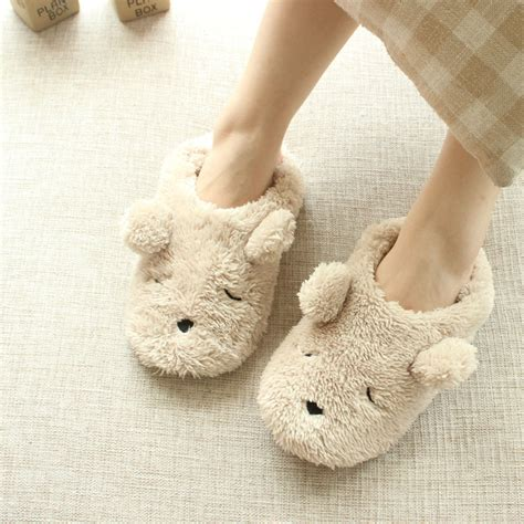 cute house shoes for women cartoon plush bear autumn and winter home slippers women cute bedroom animal slippers