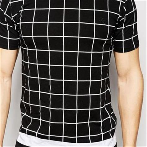 grid pattern t shirt antioch longline t shirt with grid print from asos quick