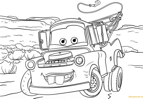 cars valentine coloring pages tow mater from cars 3 from disney cars coloring page