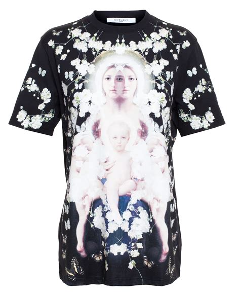 lyst givenchy madonna black printed cotton t shirt in black