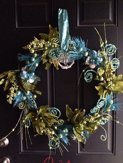 indoor wreaths home decorating holiday wreath blue and green glitter and sparkle