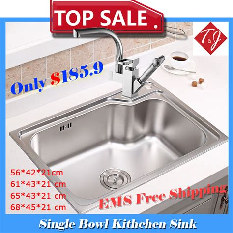 Single Bowl Kitchen Sink Sizes 4 Sizes Single Bowl Kitchen Sinks Stainless Steel Kichen Sink With Pull Out Sink Mixer Tap Pia