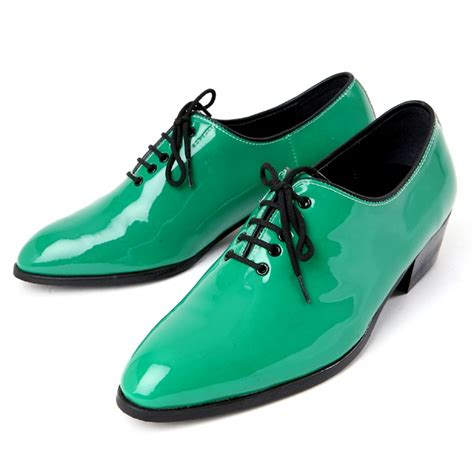 green dress shoes mens toe glossy green lace up oxfords high