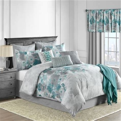 Gray Yellow Teal Bedroom - buy teal comforters from bed bath amp beyond
