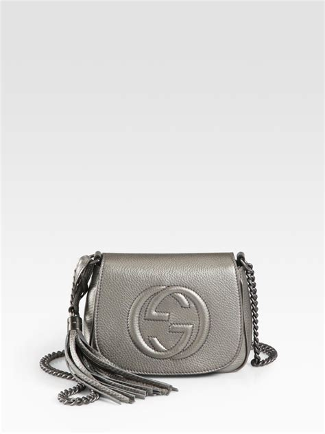 Silver Chainmail Holdall From Warehouse by Gucci Soho Metallic Leather Chain Shoulder Bag In Metallic