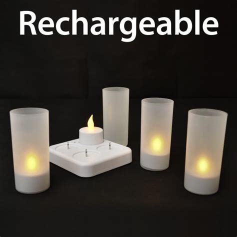 4 x rechargeable flickering led flameless white tea lights