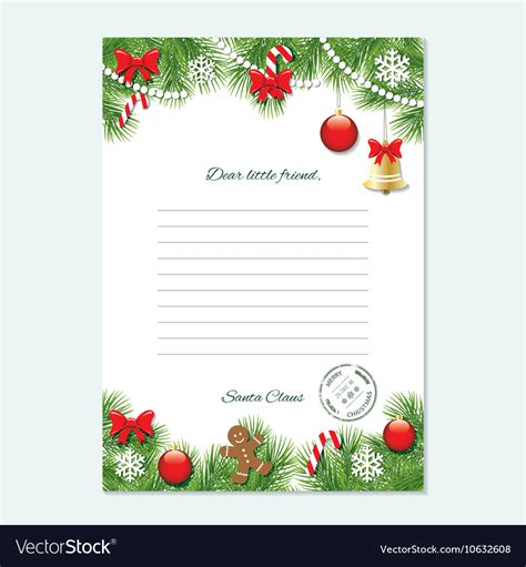 christmas letter santa claus template vector image