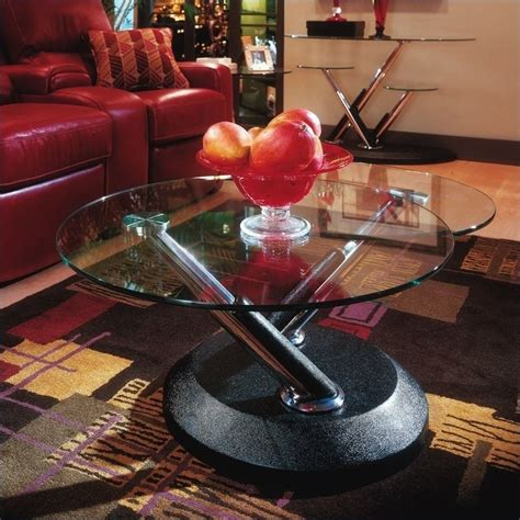 Modesto Glass Coffee Table Magnussen Modesto Swivel Free Form Glass Top Cocktail Table In Black 38006