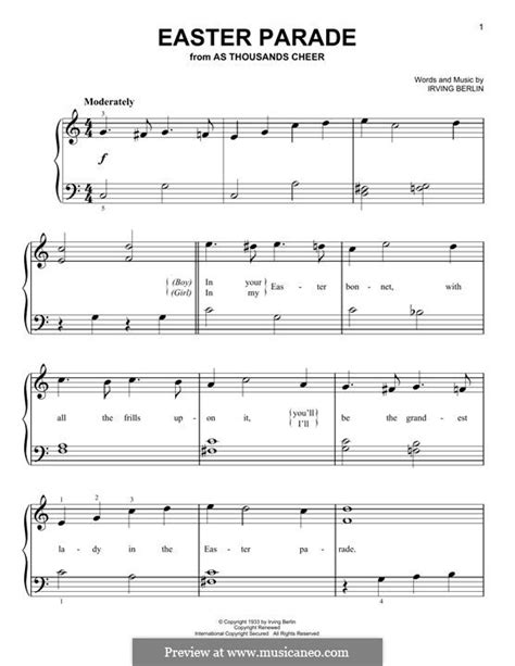 printable lyrics to easter parade easter parade by i berlin sheet music on musicaneo