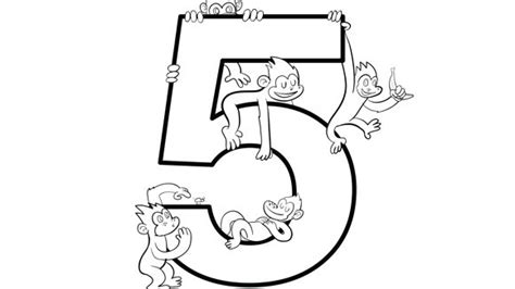 five little monkeys coloring page free number series five grandparents com