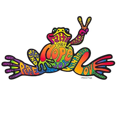 cool peace frog tattoo design