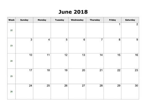 june calendar 2018 printable download word excel format free