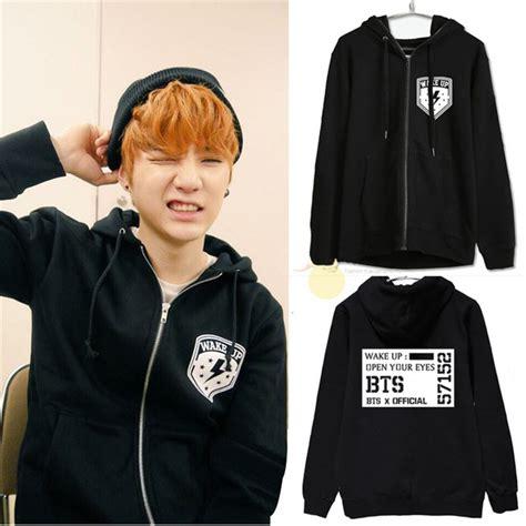 Kpop Zipeer kpop bts bangtan suga children autumn and winter zipper hooded fleece jacket bts k pop v hooded