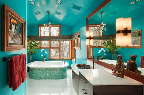 Spa Bathroom Color Schemes by Gorgeous Freestanding Bathtub Accentuates The Color Scheme