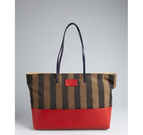 Fendi Matrioska Canvas Tote by Fendi Brown And Stripe Canvas And Leather Tote Bag In