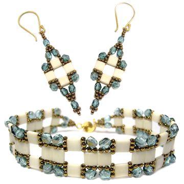 tila bead patterns tila squared bracelet and earrings