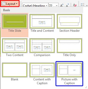 photo layout with captions working with picture slide layouts in powerpoint 2013