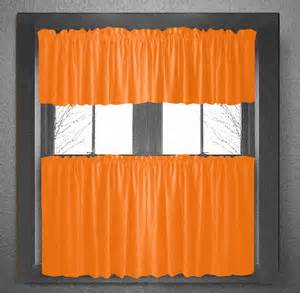 Orange Kitchen Curtains Solid Orange Kitchen Tier Cafe Cotton Curtains
