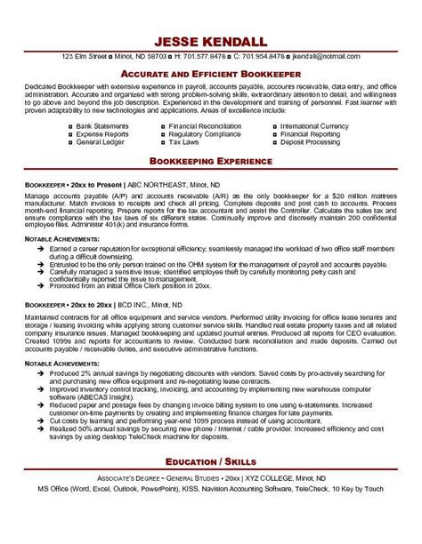 Resume Sles Bookkeeper Position Bookkeeper Resume