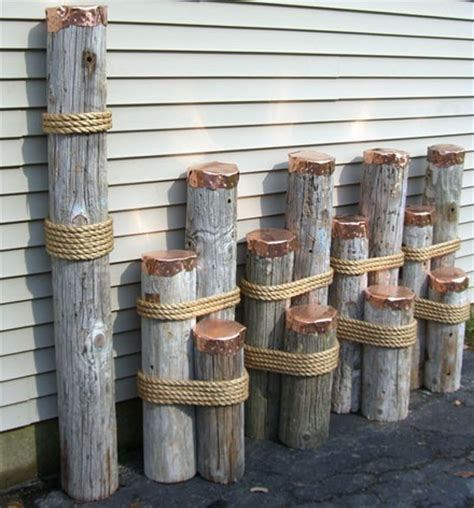 Wooden Nautical Decor by Wood Piling Nautical Rope Fence