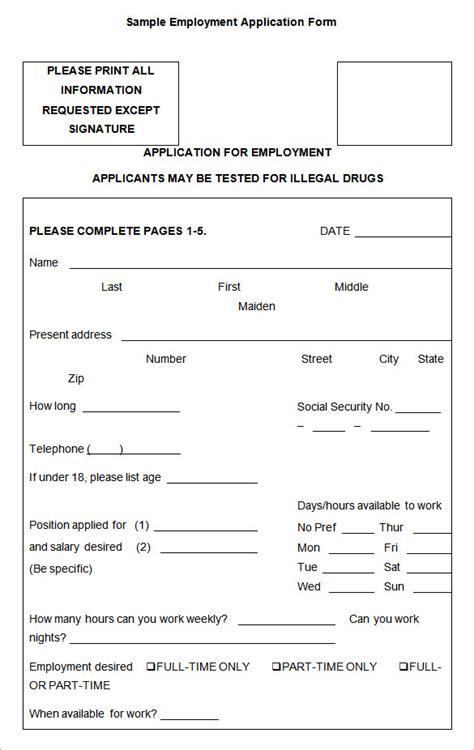 employment application form template doc employment application templates 10 free word pdf