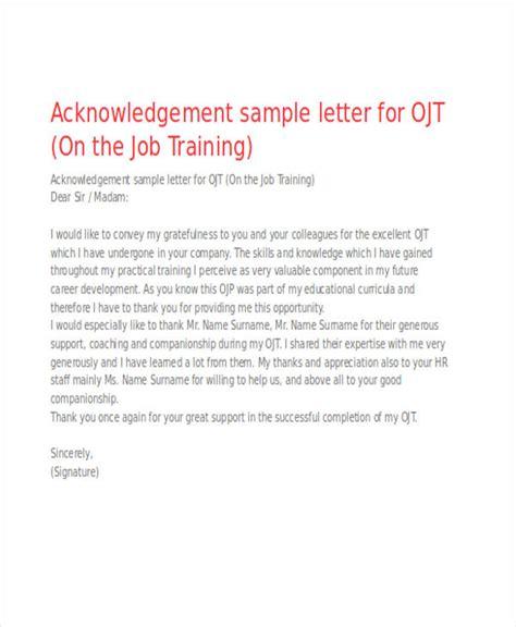 Acknowledgement Letter For Ojt 41 acknowledgement letter exles sles